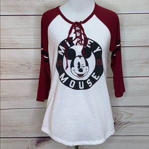Disney Mickey Mouse Wink Lace Up Baseball T-Shirt